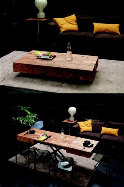 Thần kì là ở chỗ, chiếc bàn trà này có thể biến hình bằng cách nâng lên và kéo dài ra để tạo thành bàn ăn cơ
